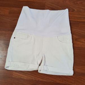 Maternal America Maternity Denim White Jean Shorts